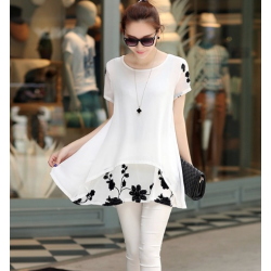 M-5XL Plus Size Summer Chiffon Blouse Embroidery Short Sleeve